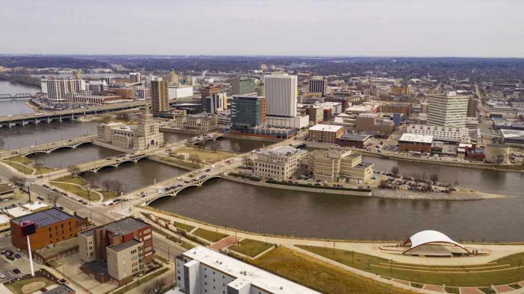 Aerial Perspective of Cedar Rapids Iowa Urban Waterfront